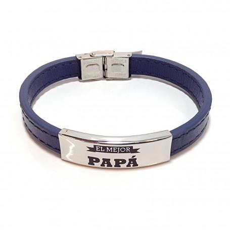 Steel and cuir bracelet