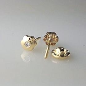 Pendientes Oro Niña Flor Circonita 4 mm.