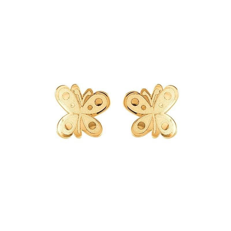 Pendientes Oro Niña Mariposa 7,3 mm.