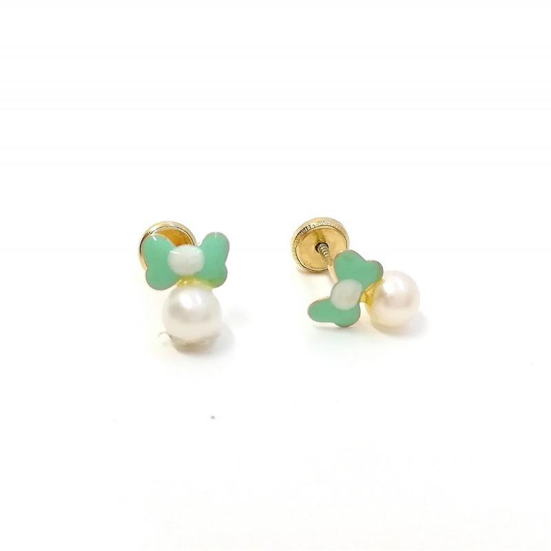 Pendientes Oro Niña Perla 6 mm