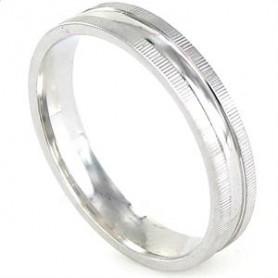 Alianza Amore en plata rodiada con bordes rayados y centro brillo 4 mm