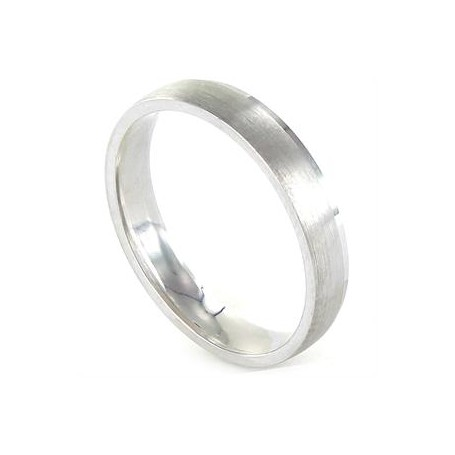 Alianza Amore en plata rodiada plana matizada y un borde con brillo 4 mm