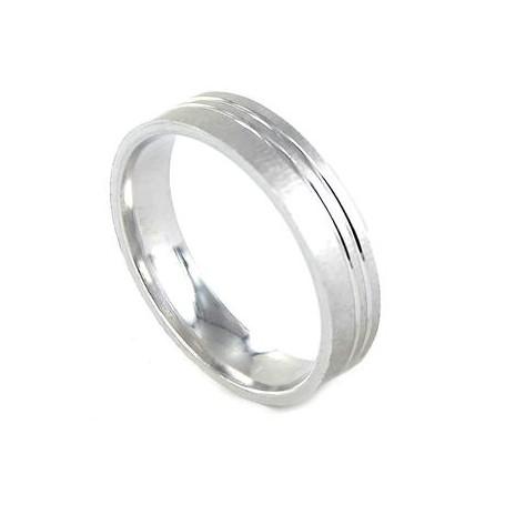 Alianza Amore en plata rodiada plana matizad con dos lineas en brillo 5 mm