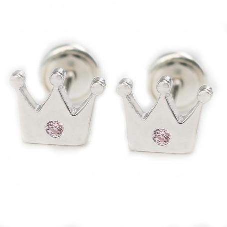 Pendiente de bebé plata rodiada corona de 6 mm
