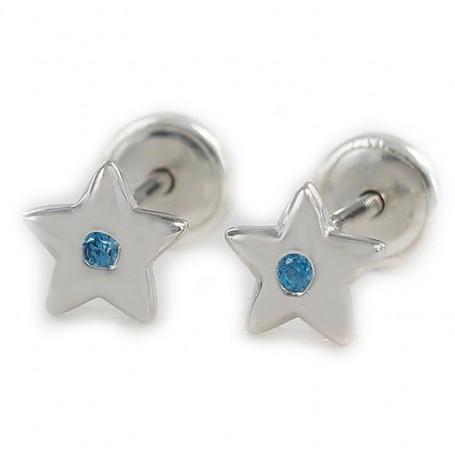 Pendiente de bebé plata rodiada estrella de esmalte lila 6 mm y cierre de rosca