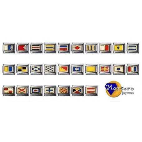 Flags Nautical Bracelet with Gold 18 ktes.-25/27-www.monterojoyeros.com